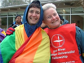 Rainbow flag couple